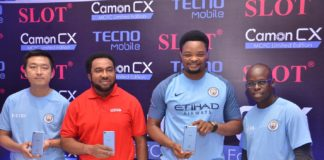 L-R: Eason Duan, Brand Manager - West Africa, Tecno Mobile; Nnamdi Ezeigbo, MD & CEO, SLOT Systems Ltd.; Attai Oguche, Deputy Marketing Manager, PR, Offline Events and Sponsorships Tecno Mobile Nigeria; and Jesse Oguntimehin, Deputy Marketing Manager, Tecno Mobile Nigeria.
