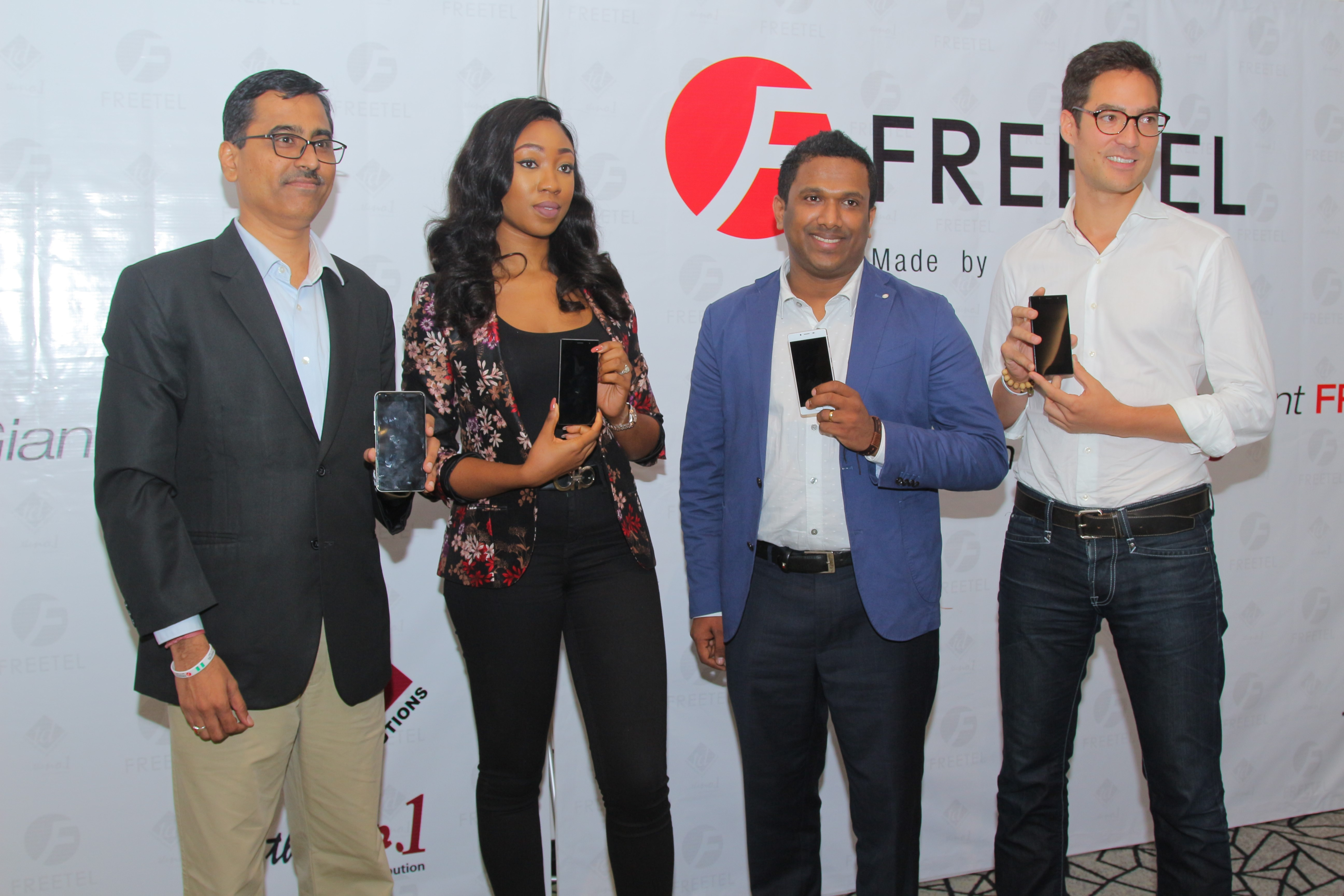 L-R: Freetel Head of Business Development West Africa, Mr. Anantha Surendran; Managing Director TD Mobile, Mrs. Gozy Ijogun; Freetel Head of Business Development, MEA Global Sales Group, Mathew Anish, and Freetel Executive officer, Global Business Development Mr. Eugene Yoshioka, during a press conference unveiling Freetel Mobile Smartphones in Nigeria at Renaissance Hotel GRA Ikeja Lagos.