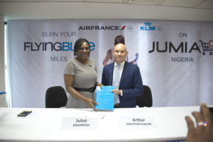 CEO of Jumia Nigeria, Juliet Anammah, Arthur Dieffenthaler, Commercial Director, Air France KLM, Nigeria & Ghana at the signing of a partnership agreement on value proposition offering in Lagos on Tuesday.