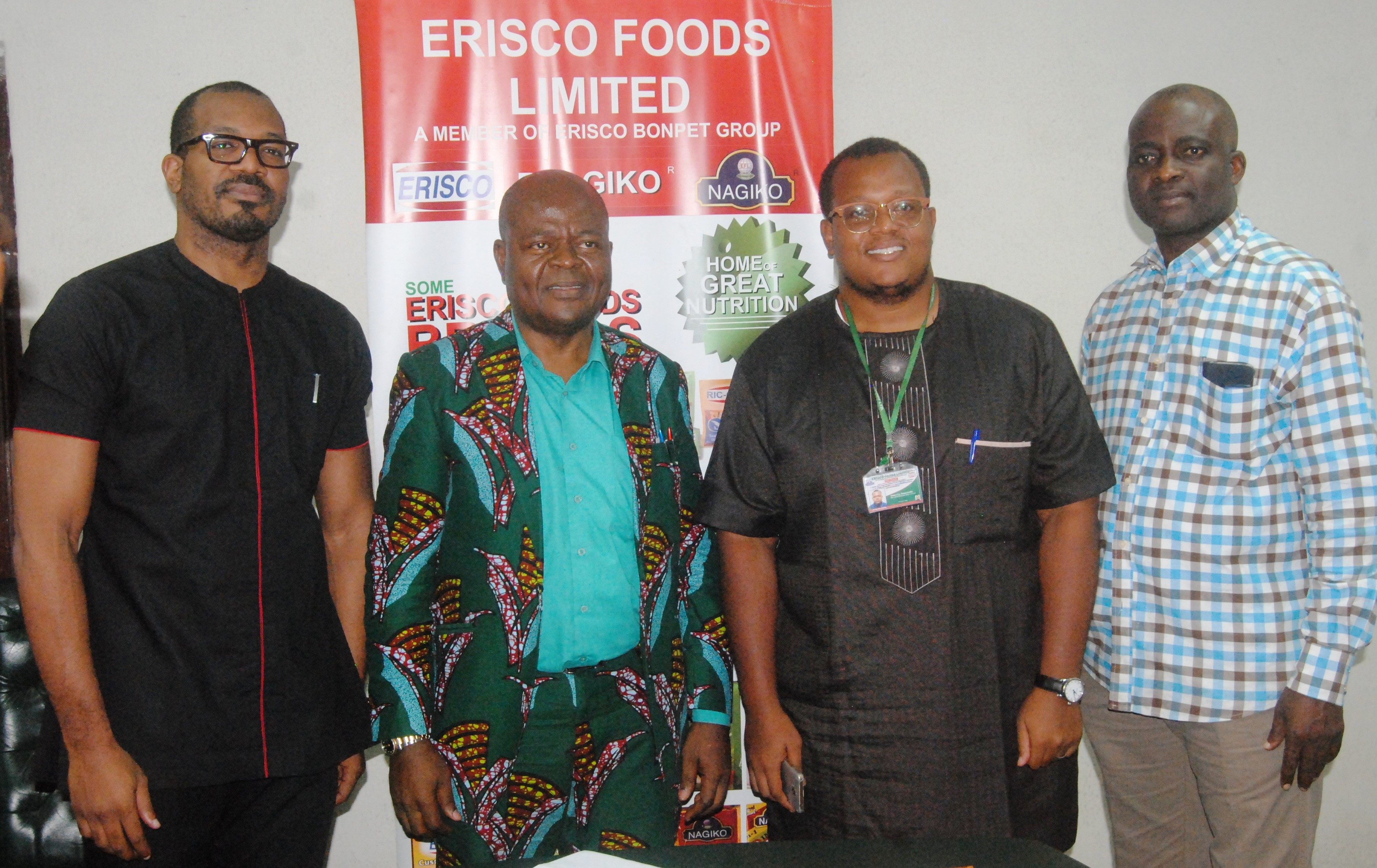 From left: Executive Director, Erisco Foods Limited, Nnamdi Umeofia; President/Chief Executive Officer, Chief Eric Umeofia, Executive Director of the Company, Emeka Umeofia and the General Manager/Administration Manager, Tokunbo Agbede, during the company press conference on the state of the nation, held at the company premises at Alausa, Ikeja in Lagos. October 4, 2017.