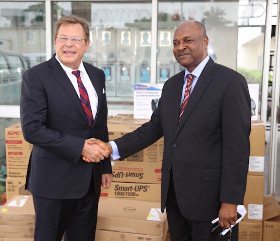 Photo Caption 2: (IMG 9236): Consul General F. John Bray (left) with Director of Training and Manpower Development, Nigeria Drug Law Enforcement Agency (NDLEA), Dr. Linus Opara, during the donation of vehicles and technical equipment to the NDLEA by the United States government in Lagos on Wednesday. Photo: U.S. Consulate General Lagos.