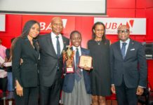 Group Head, Human Resources, United Bank for Africa (UBA) Plc, Patricia Aderibigbe; GMD/CEO, UBA Plc, Mr. Kennedy Uzoka; Overall Winner of the 2017 UBA Foundation National Essay Competition and Student of British Nigerian Academy, Miss Samuella Sam-Orlu; Managing Director/CEO, UBA Foundation, Bola Atta; and Group Head, Secretariat & Corporate Services, UBA Plc, Bili Odum during the Grand finale and prize giving ceremony of the UBA Foundation National Essay Competition, held at UBA House in Lagos on Monday