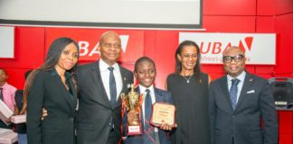 Group Head, Human Resources, United Bank for Africa (UBA) Plc, Patricia Aderibigbe; GMD/CEO, UBA Plc, Mr. Kennedy Uzoka; Overall Winner of the 2017 UBA Foundation National Essay Competition and Student of British Nigerian Academy, Miss Samuella Sam-Orlu; Managing Director/CEO, UBA Foundation, Bola Atta;and Group Head, Secretariat & Corporate Services, UBA Plc, Bili Odum during the Grand finale and prize giving ceremony of the UBA Foundation National Essay Competition, held at UBA House in Lagos on Monday