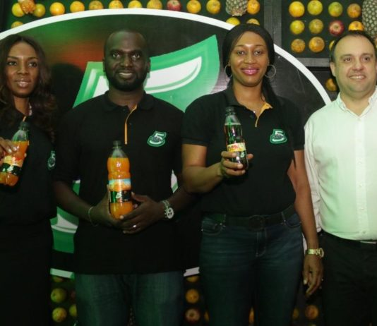 L-R: Oluyomi Moses, Shopper Marketing Manager, Nigerian Bottling Company; Gbolahan Sanni, Marketing Manager, Flavours and Still Beverages, Coca-Cola Nigeria Limited; Nwamaka Onyemelukwe, Public Affairs & Communications Manager, Coca-Cola Nigeria Limited; Eduardo Pontual, Franchise Director of Nigeria, South & West, Coca-Cola Nigeria Limited at the Media Breakfast Launch Event for 5Alive New Variants held at Federal Palace Hotel, Victoria-Island, Lagos.
